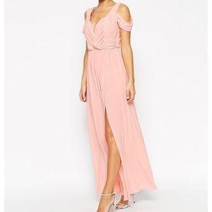 Dresses & Skirts - Pink Drape Cold Shoulder Maxi Dress